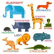 Wild and domestic animals cartoon flat icons - stock illustration