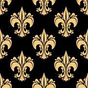 Golden victorian fleur-de-lis seamless pattern - stock illustration