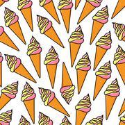 Soft serve ice cream cones retro seamless pattern Stock Illustration