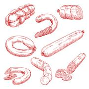 Assortment of fresh meat sausages red sketch icons - stock illustration