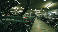 Underground Bicycle parking in Europe Stock Footage