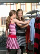 Two girls shopping - stock photo