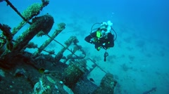 Divers visiting the wreck Giannis D Stock Footage