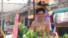 Pageant Queen In A Colorful Parade Stock Footage