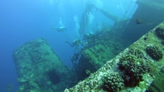 divers inspected wreck Giannis D - stock footage