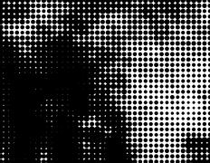 Grunge distressed black dotted halftone abstract background element Stock Illustration
