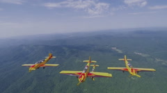 "Russian aerobatic team ""first flight"" in flight (GoPro) Stock Footage"