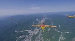 Beautiful flying aerobatic team Sporting airplane  (GoPro) Stock Footage