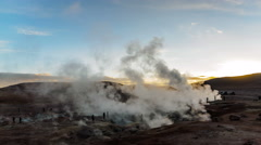 Geothermal fields with white steam Stock Footage