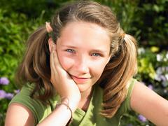Portrait of a girl, smiling - stock photo