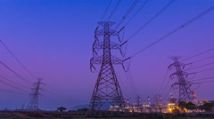 Time Lapse Electricity Power Plant Day To Night (zoom in) Stock Footage