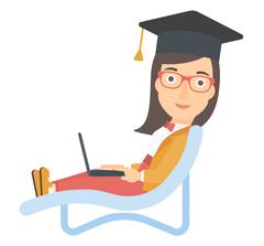 Stock Illustration of Graduate lying in chaise lounge with laptop