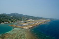 Airstrip in Roatan, Honduras. - stock photo