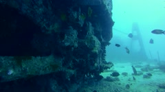 diver looks under the rail car of the wreck SS Thistlegorm - stock footage