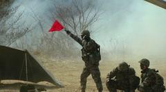 Howitzer Artillery Live Shoot - firing signal - stock footage