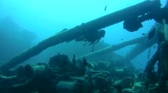 """Diver inspects the winch mechanism on shipwreck """"SS Thistlegorm"""". Red sea, Stock Footage"""
