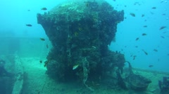 Railway carriage of the wreck SS Thistlegorm Stock Footage