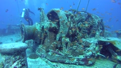 "Winch mechanism on shipwreck ""SS Thistlegorm"". Red sea, Africa Stock Footage"