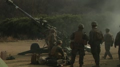 Howitzer Live Fire - Side angle shot of Artillery team Stock Footage