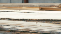 View of board in the stack wood industry. - stock footage