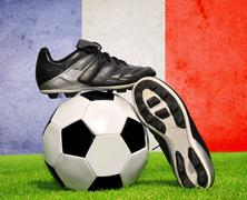 Soccer ball and cleats Stock Photos