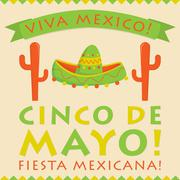 Retro style Cinco De Mayo (5th of May) card in vector format. - stock illustration