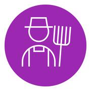 Stock Illustration of Farmer with pitchfork line icon