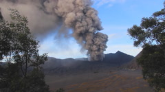 View of the active volcano Bromo Java island, Indonesia Stock Footage