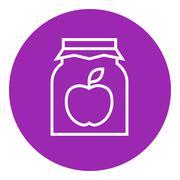 Apple jam jar line icon Stock Illustration