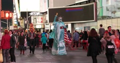 New York Times Square Street Performer 4K Stock Video - stock footage
