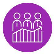 Businessmen standing on profit graph line icon - stock illustration