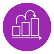 Bar chart upward line icon - stock illustration