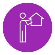 Real estate agent line icon Stock Illustration
