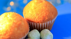 Blue background - rotation - Muffin - Baker - 08 Stock Footage