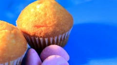 Blue background - rotation - Muffin - Baker - 07 Stock Footage