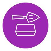 Spatula with brick line icon - stock illustration