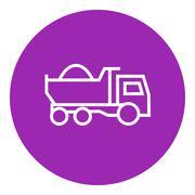 Dump truck line icon - stock illustration