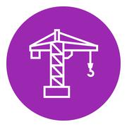 Construction crane line icon - stock illustration