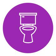 Lavatory bowl line icon - stock illustration