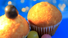 Blue background - rotation - Muffin - Centre - 07 Stock Footage