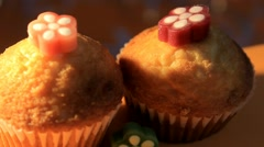 Orange background - Muffin - Plate - 06 Stock Footage
