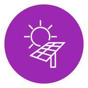 Solar energy line icon - stock illustration
