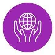 Two hands holding globe line icon - stock illustration