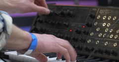 Music Producer Work With Synthesizer Stock Footage