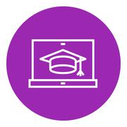 Stock Illustration of Laptop with graduation cap on screen line icon