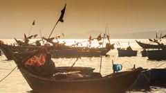 Closeup Fishing Boat Silhouettes in Sea Bay at Sunset in Vietnam Stock Footage