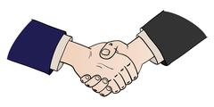 two shaking hands - stock illustration