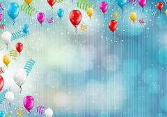 Background with balloons and confetti Piirros