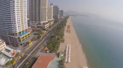 Vietnam Nha Trang coast beach (view from the drone) Stock Footage