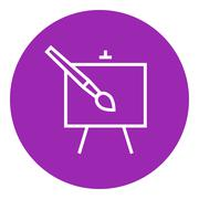 Easel and paint brush line icon - stock illustration